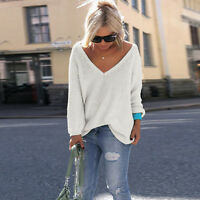 Women Long Sleeve V Neck Loose Blouse Knitted Sweater Casual Jumper Pullover Top