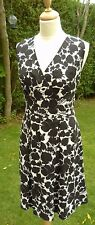 M&S black & white Linen mix sleeveless cross over neck dress size 16 New no tags