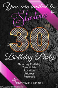 Personalised Birthday Invitations  Party Invites for any age , free envelopes