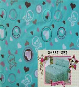 PINK COOKIE SKULL HEARTS TURQUOISE FULL 4PC SHEETS BEDDING SET NEW