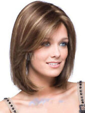 FIXSF169 fine short straight dark brown mix light blonde hair wigs for women wig