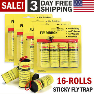 Insect Bug Fly Glue Paper Catcher Trap Ribbon Tape Strip Sticky Flies 16 Rolls