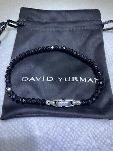 "DAVID YURMAN Men's 6mm Black Spinel Spiritual Bead Silver Bracelet  8.25"""
