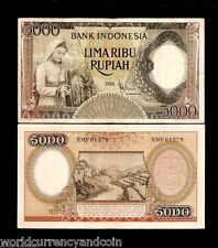 INDONESIA 5000 RUPIAH P63 1958 *REPLACEMENT WOMAN RIVER RICE CURRENCY MONEY NOTE