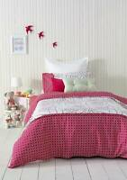 New Ardor Alice Strawberry Pink White Frilled DOUBLE Size Quilt Doona Cover Set
