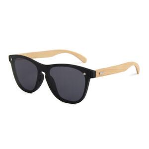 Holz Brille Bambus Sonnenbrille UV400 Damen Herren Hand Made Schwarz