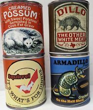 Four-pack of Creamed Possum, Armadillo, Squirrel and Dillo Gag Gift Can Set
