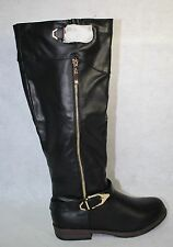 Journee Collection Barb Black Round Toe Synthetic Knee High Boot US Size 7.5