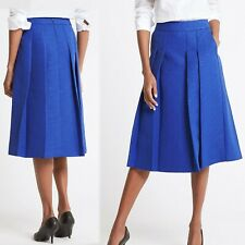 M&S Pleated Textured A-LINE Midi SKIRT ~ Size 10 ~ ROYAL BLUE