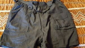 "Rio Bravo Outdoor Mens Black Belted/Elastic/Drawstring Waist Shorts Lg.X 5"" EUC"