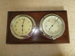 NEGRETTI AND ZAMBRA MARITIME BULKHEAD CLOCK AND BAROMETER 1930's