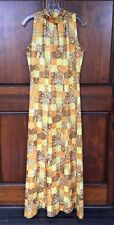 Vtg 70s Handmade Disco Multi-Color Print High Neck Cutout Front Maxi Dress M