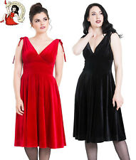 HELL BUNNY MELINA VELVET DRESS XMAS christmas party BLACK RED XS-4XL