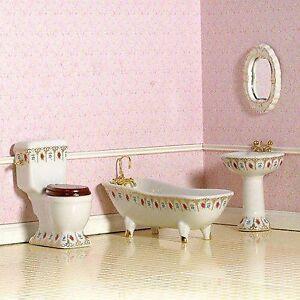 1/12 DOLLS HOUSE 4PC  DE LUXE  PORCELAIN FLORAL BATHROOM SUITE