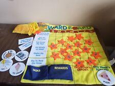 Cord hanging fabric reward board