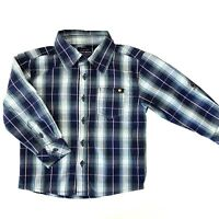 Lucky Brand Plaid Shirt Toddler Boys Size 2T Blue Button Down Long Sleeve