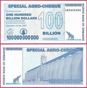 ZIMBABWE 100 BILLION DOLLARS 2008 P64 SPECIAL AGRO CHEQUE UNC