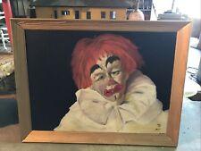 VTG Lg Mid Century Oil on Board Art Painting Clown Oddity Scary 1966 Flo Lucas