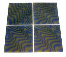 4pc PsychedeliC VtG MiD Century Green Blue 3-D OptiC Op Art 8x8 MagiC Glass TiLe
