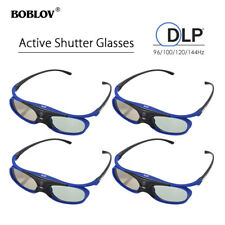 4x 3D Active Shutter Glasses DLP-Link Home Movie Blue For BenQ Optoma Projector