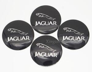 4Pcs 56.5mm Black Car Wheel Center Hub Cap Badge Emblem Sticker Fits for Jaguar