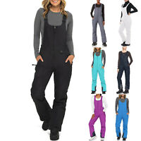 Women's Insulated Bib Overalls Solid Color Pocket One-Piece Suspenders Trousers