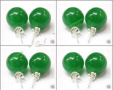 Wholesale 4 pairs Lovely green jade stud earrings 10mm AAA