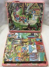 Vintage Snow White & 7 Seven Dwarfs Dwarves Wooden Block Cube Puzzle in Box