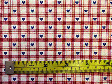 98cm GINGHAM HEARTS Cotton check plaid red blue cream fabric craft dress retro
