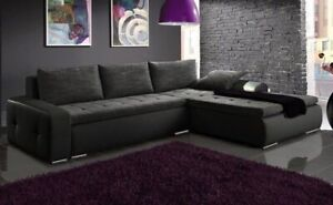 Righ Hand Side Corner Sofa Bed with one storage & upholstery belts in Grey/Black