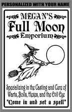 Metal Halloween Witch Sign Personalized Full Moon Emporium Wall Art Home Decor