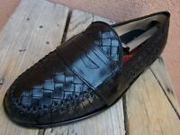 COLE HAAN Mens Dress Shoes Black Woven Leather Slip On Penny Loafers Size 8.5M
