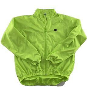 Canari Full Zip Bright Green Windbreaker Cycling Jacket Men's L 100% Polyester