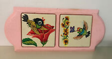 Old Vintage Tiles Rare Dainty Floral Hang Trivet Hummingbirds Butterfly Wood