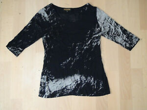 Crines Walter Krines Berlin Damen T-Shirt Bluse Gr. 36 schwarz-grau-ton  viscose