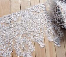 Encordado encaje novia Cinta Ribete 34.8cm blanco crudo Bordado Floral Boda