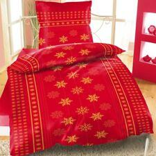 Thermofleece Bettwäsche 135x200 Winter Weihnachten Sterne Schnee rot