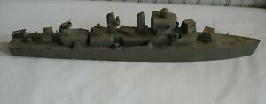 Vintage Folkart Handmade Wooden Ship / Boat Battleship Destroyer Cargo Military