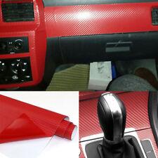 3D Car Red Interior Accessories Panel Carbon Fiber Vinyl Wrap Sticker 100*40cm