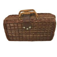 Vtg Wicker Rattan Boho Beach Lunch Box Sewing Crafts Picnic Storage Carry Case