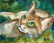 Abyssinian Cat 11x14 signed art Print painting Rjk