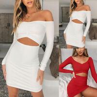 Women Long Sleeve Bodycon Knitted Mini Dress Ladies Slim Stretch Party Clubwear