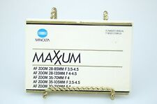 Minolta Maxxum AF Zoom Lens Owner's Manual and Instructions 1984 **Ships Free**