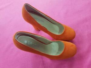 Womens London UK Ladies High Heels Platform Orange Casual Shoe Size UK 6  Eur 39