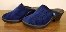 Fly Flot Blue Patterned Velvet Mules Wedge Shoes Women's Size EU 38/US 7.5 - 8