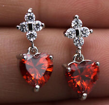 18K White Gold Filled - 7MM Heart Ruby Topaz Zircon Wedding Gemstone Earrings