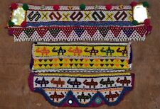 Vintage Beaded Jean Jacket Kuchi Textile Applique Tribal Clothing Patch 3X LOT