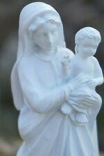RE0436 FIGURINE STATUETTE VIERGE A L ENFANT BEBE MARIE BLANCHE 15 CM  RESINE