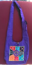 Embroidered Canvas/Cotton Hobo Hand Bag PURPLE w/ Colorful Hippie Peace Design