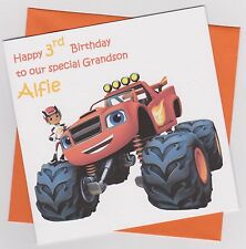 Personalised Handmade Blaze & The Monster Machines Birthday Card - Son, Grandson